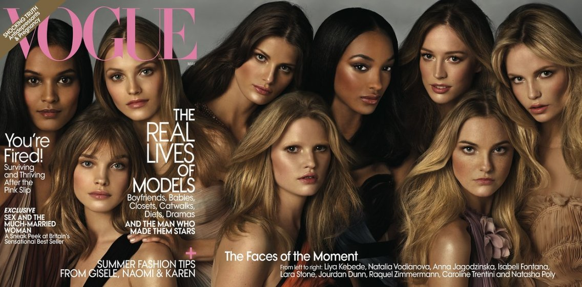 Anna Jagodzinska, Lara Stone, Jourdan Dunn, Natasha Poly Vogue US May 2009