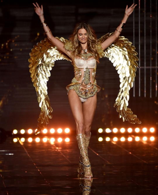 LONDON, ENGLAND - DECEMBER 02: Model Behati Prinsloo walks the runway during the 2014 Victoria's Secret Fashion Show at Earl's Court Exhibition Centre on December 2, 2014 in London, England. (Photo by Dimitrios Kambouris/Getty Images for Victoria's Secret)