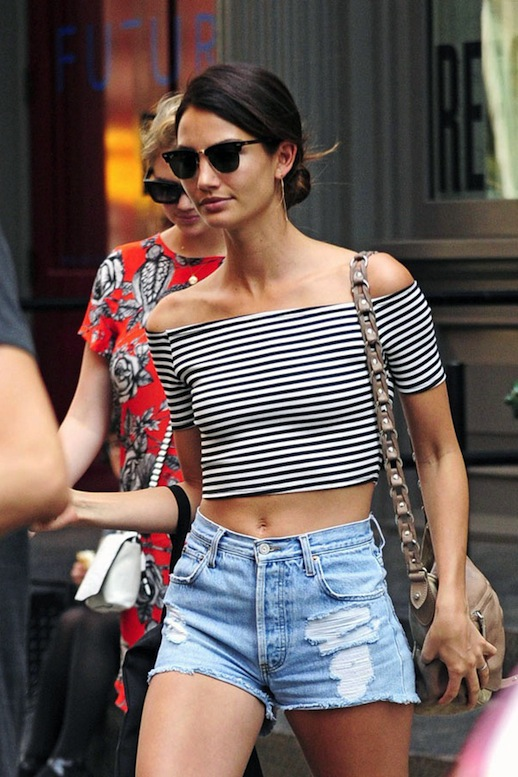 Le-Fashion-Blog-Model-Off-Duty-Lily-Aldridge-Striped-Crop-Top-Cut-Offs